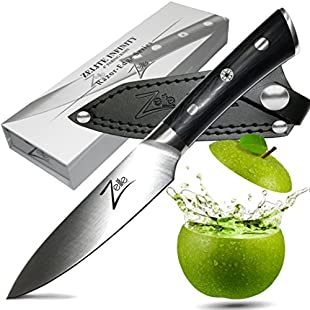 ZELITE Infinity Paring Knife 4 inch >> Razor-Edge Series >> Best Quality Japanese AUS8 High Carbon Stainless Steel, Black Pakkawood Handle, Full-Tang, Sleek Chef Design, Ultra-Premium Leather Sheath:Enlaweb