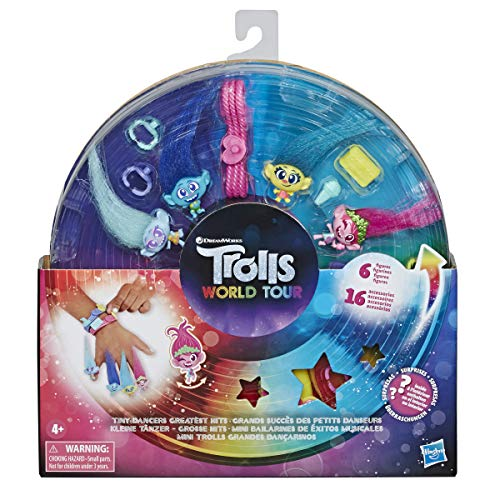 Trolls DreamWorks Tiny Dancers Greatest Hits, 6 Collector Figures, Necklace, 2 Bracelets, and More, Toy Inspired World Tour
