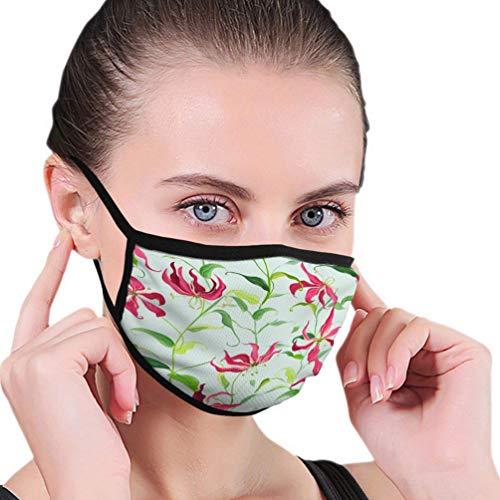 Máscara Facial Lavable Reutilizable para esquí y Ciclismo, máscara bucal Unisex, Hojas Tropicales, Flores de Lirio de Fuego Florales, realistas