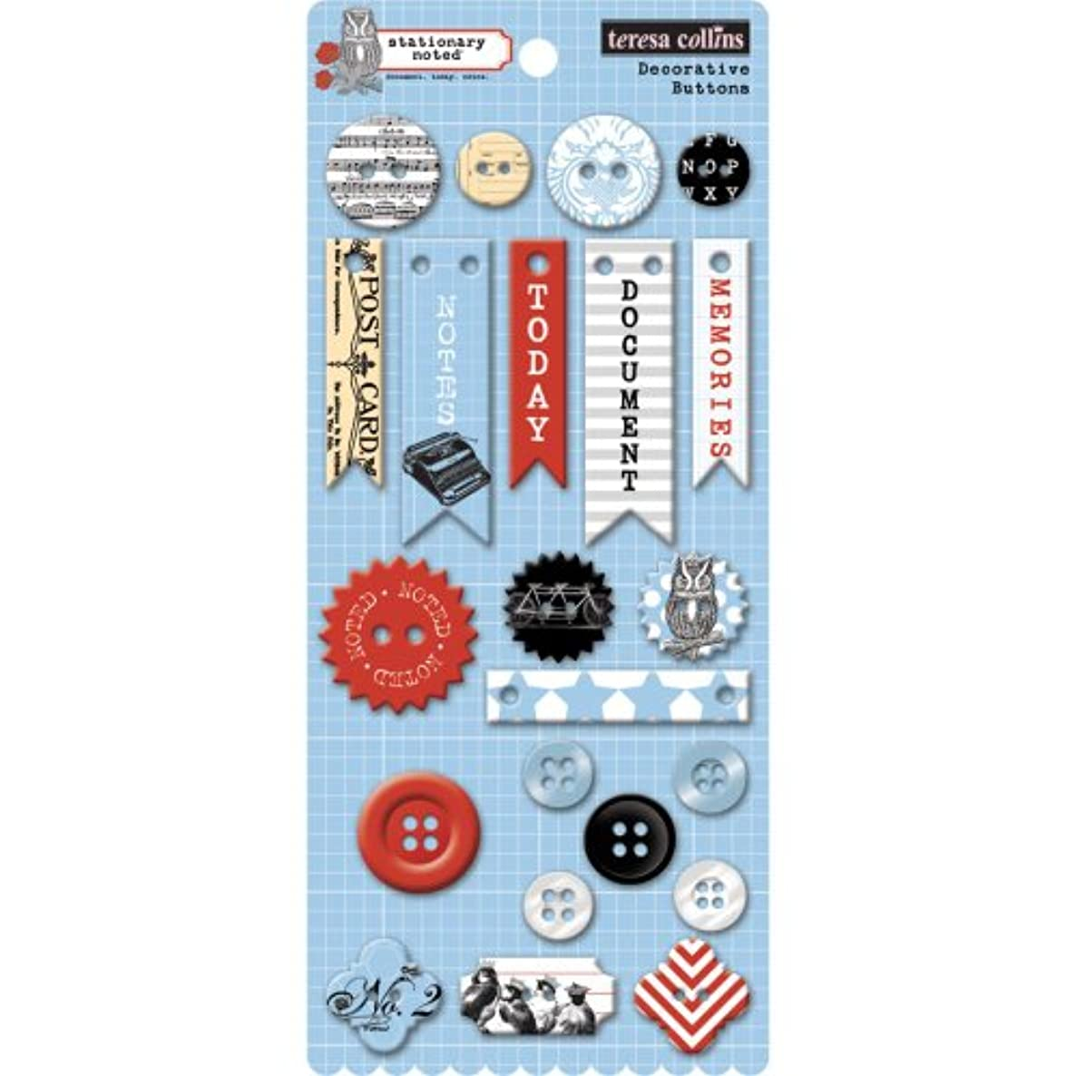 Teresa Collins Stationary Noted Decorative Buttons 22/Pkg-16 Chipboard, 6 Plastic