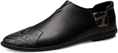 Mocasines de conducción para hombres Mocasines de Barcos Resbalón en el Estilo OX Cuero Moda Punta rojoonda zapatos de grabación en Relieve Cabeza Jackanapes Conciliatorio zapatos Casuales