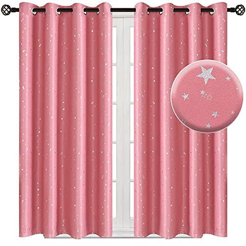 NAPEARL Cortinas para habitación infantil y niña, bonitas cortinas con estrellas, cortas, opacas, con ojales, para dormitorio, juego de 2 unidades (2 x 137 x 132 cm, rosa)