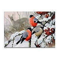冬と鳥雪ポスターキャンバスプリント絵画壁アートリビングルーム家の装飾-50x70cmx1フレームなし