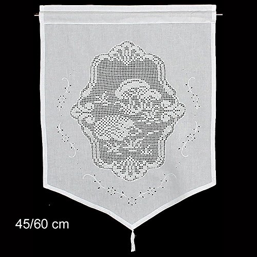 Raamdecoratie egels gordijn Hossner | 60x45 cm H/B | wit | 100% katoen