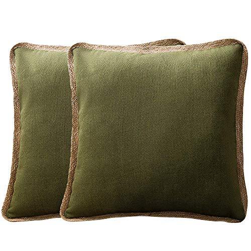 Leeko - Funda de cojín Cuadrada Suave, Decorativa, con Cremallera, para sofá, 45 x 45 cm, 2 Unidades, Verde Oliva, 45 x 45 cm