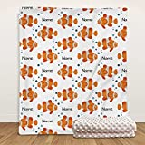 Personalized Baby Blankets for Girls with Name, Custom Marine Life Clown Fish Baby Blanket, Super Soft Double Layer Soft Plush Minky Catch Blanket