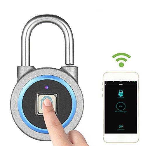 Decdeal Lucchetto di Impronte Digitali - BT Smart Fingerprint Lock Impermeabile IP65, APP/ Impronta Digitale Sblocco,Antifurto Porta,Lucchetto Serratura Bagagli,per Sistema Android iOS
