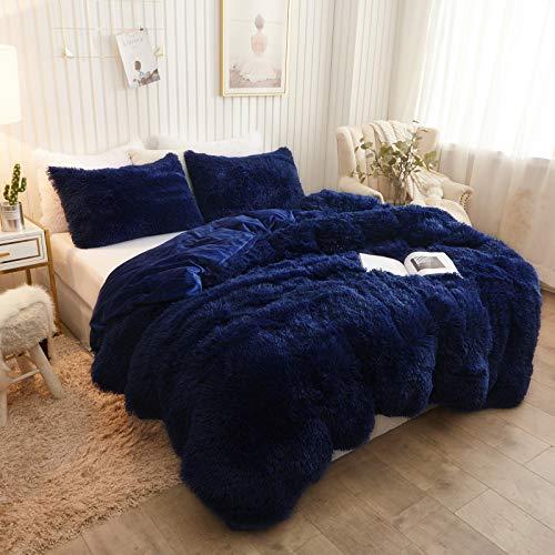 XeGe Plush Shaggy Duvet Cover Luxury Ultra Soft Crystal Velvet Bedding 1PC(1 Faux Fur Duvet Cover),Zipper Closure(King,Navy Blue)