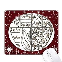 ブラック・ホワイトライオンのイラスト芸術シールドパターン オフィス用雪ゴムマウスパッド