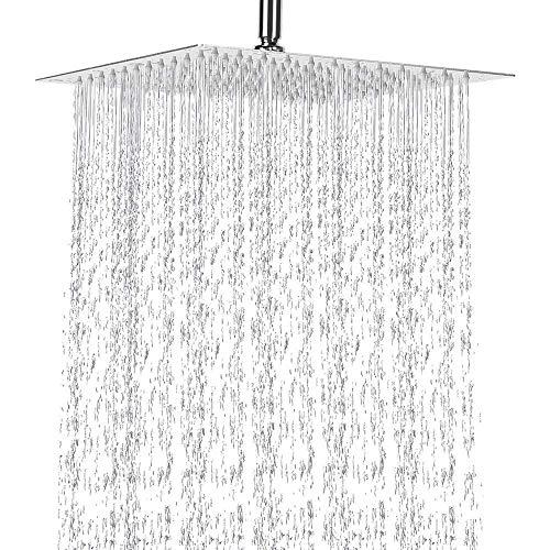 Qrity Cabeza de Ducha de lluvia, 12''/30cm Gran Alta Presión Montaje Fijo, Acero inoxidable 304, 144 unidades de agujeros, 1/2'' Conector, Rotación de 180 grados