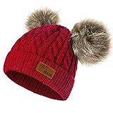 Yixda Baby Kids Winter Mütze Mädchen Jungen Warm Fellbommel Beanie Hüte (Rot)