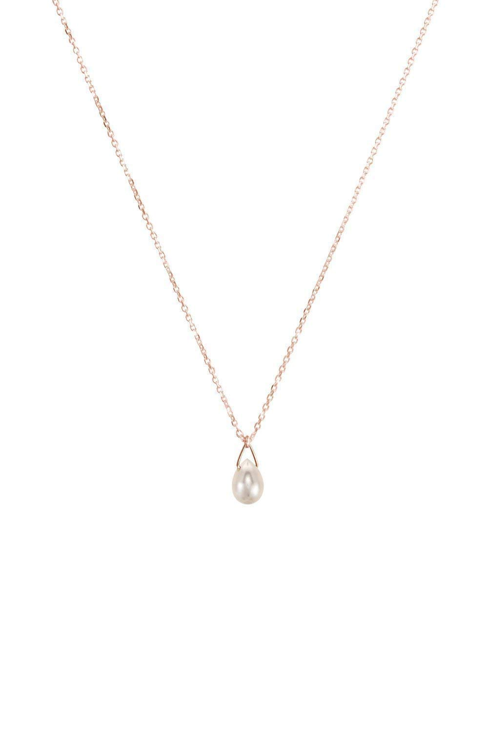 White Charlotte Mall Pearl A surprise price is realized Drop Pendant 9K 14K June Bi Rose 18K Gold Necklace