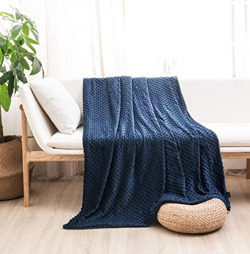 MILDLY Duvet Cover for Weighted Blanket 60' 80' Weighted Blanket Cover Removable Soft Minky Cozy Fabric Queen Size Navy Blue Color