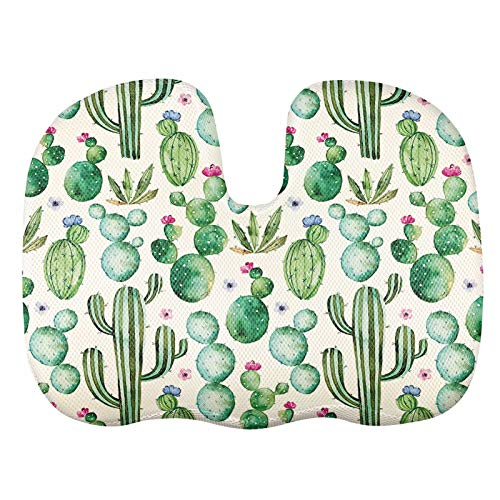 AFPANQZ Summer Cactus U Shape Pillow Pain Relief Cushion Tailbone Pillow for Hemmoroid Treatment Comfortable Seat Cushion Pad Prostate, Bed Sores, Pregnancy Seat Cushions Memory Foam Green
