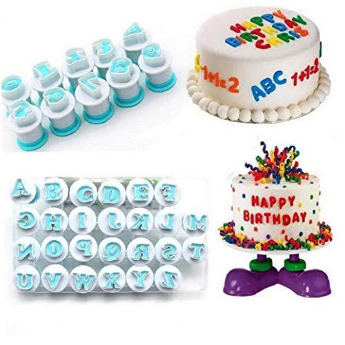 Bontand Alphabet-Buchstabe-Fondant-Kuchen-biskuit-Form, Cookie Stamp Impress, Alphabet-Kuchen-Werkzeug, Embosser Cutter DIY Cookie-keks (26pcs / Set Und 10pcs Number)