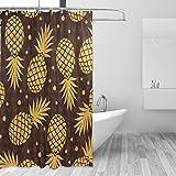 JSTEL Ananas-Duschvorhang, schimmelresistent, wasserdicht aus Polyester, extra lang, 72x 72Zoll, für Badezimmer, Dusche, Bad-Duschvorhang, mit 12Haken