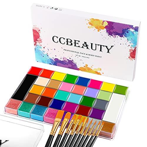 CCbeauty Bodypainting 36 Farben Face Paint Professional Theaterschminke Ölbasierte ungiftige Make-Up-Palette Halloween Körperkunst Party Schminke