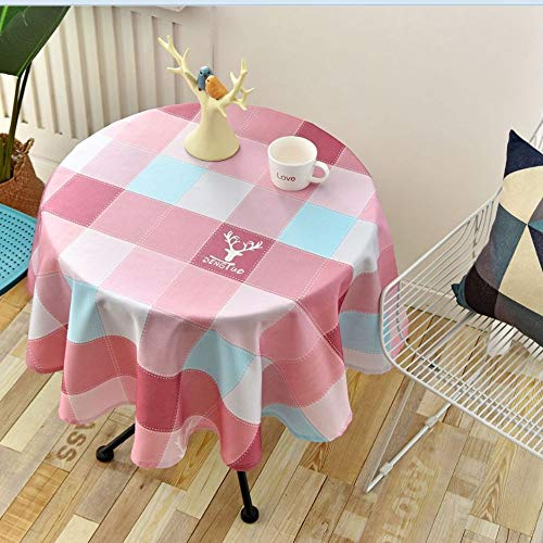 LMDY Decoración para el hogar Mantel Estilo nórdico Simple Impermeable Resistente al Aceite Restaurante Hotel Hogar Mesa de Comedor Redonda Mantel Enrejado-Rosa 90CM