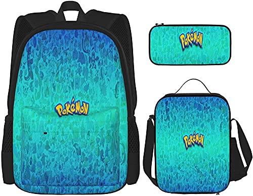 Baby Spielzeug Juego de mochila escolar para Primary & AMP High School – Poke_MO_N unisex mochila escolar para adolescentes con bolsa de almuerzo aislada y maletín para lápices, Negro 6., Talla única