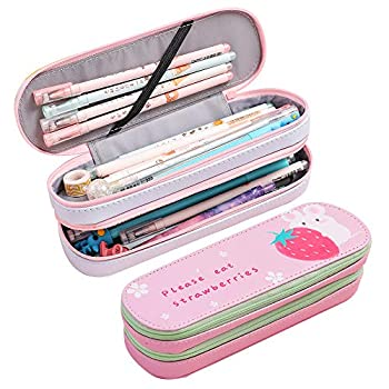 Cute Pencil Case 2019 New Kawaii Large Capacity Pencil Pouch Double Compartment Pen Bag Waterproof & Durable Stationery Storage with Zippers for Children Office School  Hamster