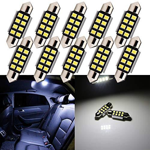 GLL 10pcs 36MM C5W Bombillas LED Canbus de Adorno Blanco con Chips 8-2835-SMD para Luces de Matrícula de Cortesía de la Puerta del Mapa del Domo Interior del Automóvil