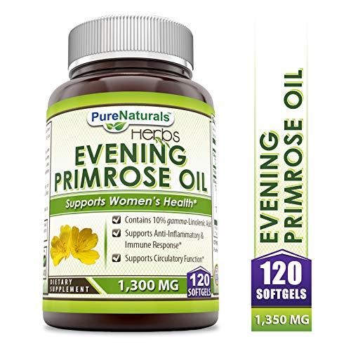 Aceite de Primrose de Noche Pure Naturals con 10% GLA, 1300 Mg, 120 cápsulas de gel suave que contienen 10% de ácido linolénico, soporta la antiinflamación, y equilibra la respuesta inmune, soporta la función circulatoria