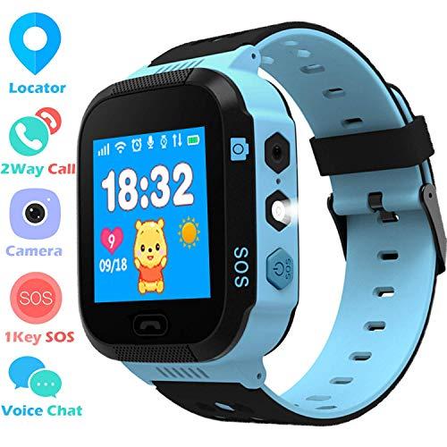 Smartwatch Phone para Niños Niñas, Reloj inteligente Teléfono con Localizador LBS SOS Chat de voz Cámara Despertador Linterna Juego de Cálculo para Regalos Estudiantes Compatible con iOS Android, Azul