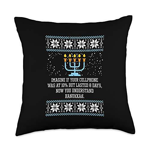 BoredKoalas Hanukkah Pillows Jew Chanukah Gifts Hanukkah Cellphone 8 Days Menorah Ugly Chanukah Jewish Gift Throw Pillow, 18x18, Multicolor