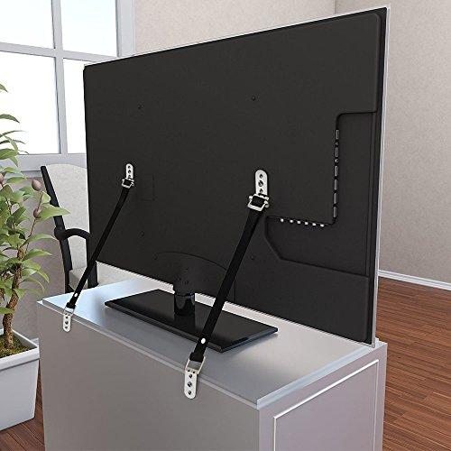 Wommty, 2 cinghie anti-punta per TV e mobili resistenti e tutte le parti in metallo, tutti gli accessori di montaggio per TV a schermo piatto e mobili inclusi, senza parti in plastica
