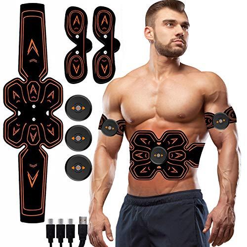WARDBES Electroestimulador Muscular Abdominales, Estimulador Muscular Abdominales, Eñectro Estimulador Abdominal, EMS Trainer para Abdomen/Brazo/Piernas/Cintura para Hombres y Mujeres