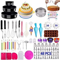 [367 PCS COMPLETE CAKE SET] –Including everything you need to start making cakes like a PRO! Turntable, 3 PCS Leakproof Cake Pans.cake levler,chocolate mold,flour siev flag,Egg Beaters,Muffin Cup Molds, Paper CupCakes,Carved Pens, Numbered Icing tips...