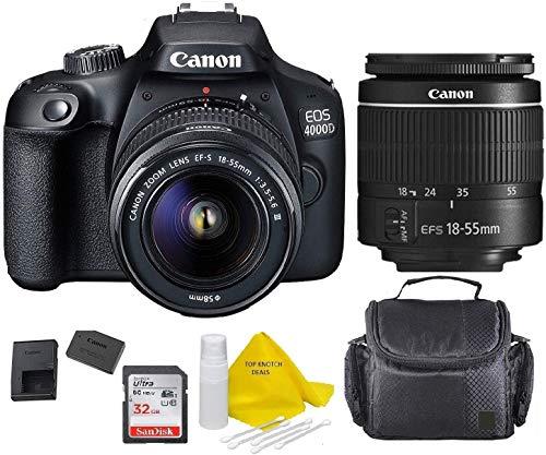 Canon EOS 4000D DSLR Camera w/EF-S 18-55mm F/3.5-5.6 III Zoom Lens+Case+ 32gb Memory Card+ TopKnotch Deals Cloth (International Model)
