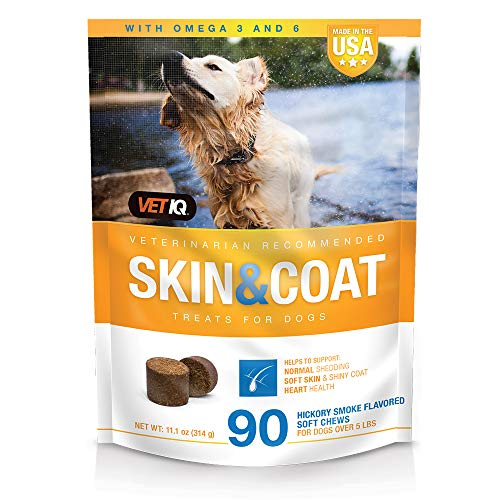 VetIQ Skin & Coat Hickory Smoke Flavored Supplement Soft Chews for Dogs  90 Count