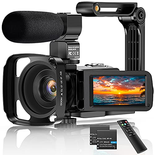 Videocámara Digital 2.7K UHD 36MP Vlogging Camera para Youtube IR Night Vision 3.0'Pantalla táctil LCD 16X Zoom Digital Cámara Grabadora con micrófono Estabilizador de Mano Control Remoto, 2 baterías