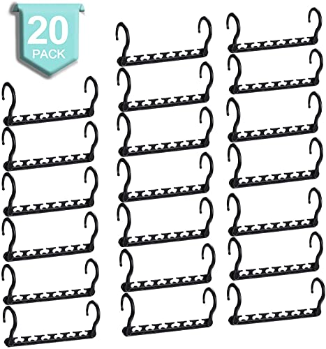 HOUSE DAY Magic Hangers Space Saving Clothes Hangers Organizer Smart Closet Space Saver with Sturdy Plastic for Heavy Clothes Black Pack of 20