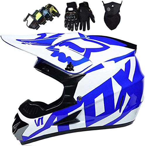 Casco de motocross Casco de moto todoterreno para niños con FOX Design para Mountain Bike ATV Off-Road MTB BMX, Conjunto de casco de moto de casco integral unisex (Guantes + Gafas + Máscara)