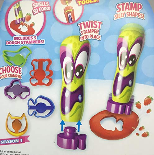 Scentos Scented Dough Season One - Green Stamper Tool - Stamp Silly Shapes - 10 Pieces 4 Different Scented Dough, 1 Stamper Tool and 5 Dough Stampers