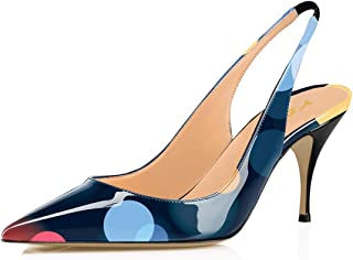 Details about  /Stylish Women Pumps Pointed Toe Polka Dots Heels Satin Shoes Woman Size 4-15