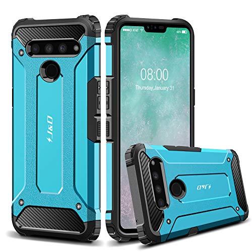 JundD Kompatibel für LG V50 ThinQ 5G Hülle, [ArmorBox] [Doppelschicht] [Heavy-Duty-Schutz] Hybrid Stoßfest Schutzhülle für LG V50 ThinQ 5G Handyhülle - Blau