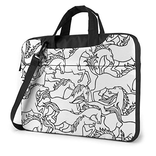 Black White Horse Laptop Bag Shoulder Messenger Bag Computer Tote Briefcase for Work School