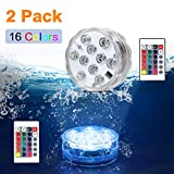 HOOFUN Submersible Light Battery Operated with Remote Control Aquarium Light Best Party Decor Lights for Tub,Pond,Fountain,Waterfall,Aquarium,Vase Base, (2pack)