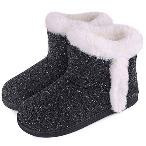 Women's Cotton Knit Memory Foam Ankle Booties Slippers Fashion Anti-Skid House Shoes with Comfy Plush Lining (9-10 M, Black)