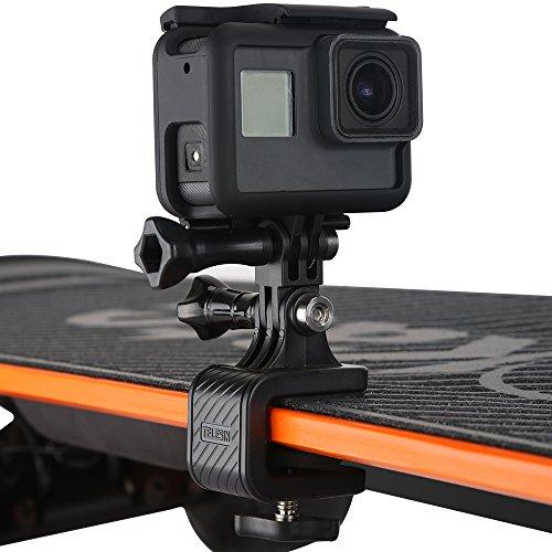 TELESIN 180 graden draaibare camerahouder met skateboardhouder voor GoPro Hero Fusion Session, Polaroid, Xiaomiyi, SJCAM, Sony en andere compacte camera's