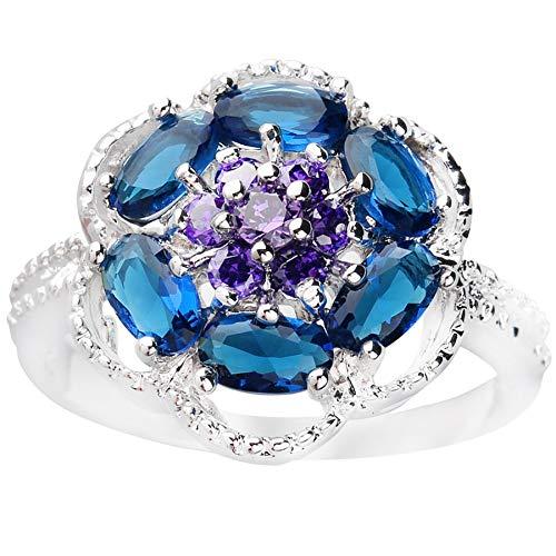 BQZB Anillo Flor Azul Piedra 3 * 5 mm Anillo de Plata esterlina con Piedra semipreciosa