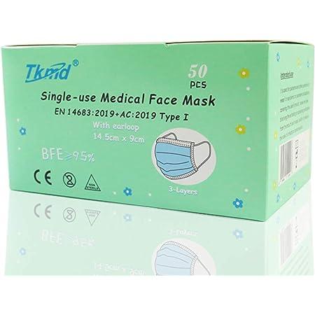 Medical Kids Face Mask EN14683 Type I 3-lagig Medizinische Einweg Schutzmasken für Kinder Kindermasken 50 Stück BFE 95% +5 Gratis OP Masken TYP I CE Geprüft und Zertifiziert