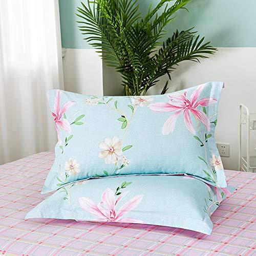 KZYV Funda de Almohada Algodón Azul a Cuadros Belleza Flores Imprimir Patrón Creativo Hogar Sala de Estar Dormitorio Cama Sofá Decoración de Arte Funda de Almohada
