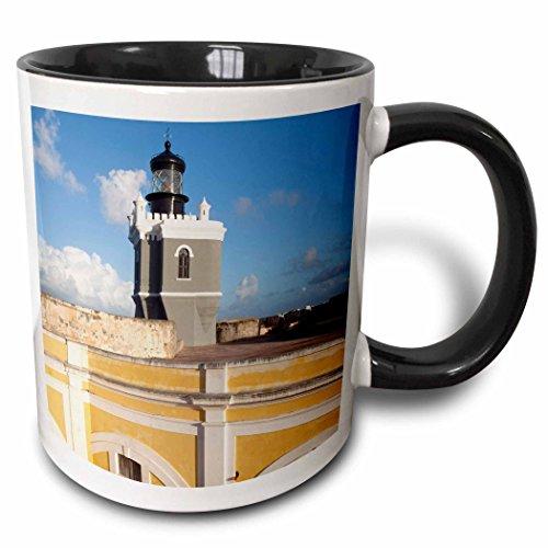 3dRose mug_72950_4'Puerto Rico, Old San Juan, El Morro lighthouse-CA27 WBI0012 - Walter Bibikow' Two Tone Black Mug, 11 oz, Multicolor