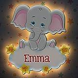 LAUBLUST Schlummerlicht Elefant - Personalisiertes Baby-Geschenk zur Geburt & Taufe - LED Hintergrund-Beleuchtung