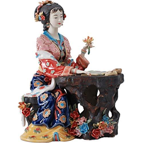 LIAOLEI10 Escultura Arte Pintado clásico Figura Femenina Estatua Cerámica Antiguos ángeles Chinos Figuras de Porcelana Decoraciones Decorativas para el hogar