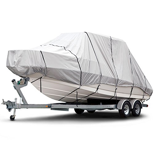 Budge B-1221-X7 1200 Denier Hard Top/T-Top Boat Cover Fits 22 ft. to 24 ft. Beam Width Up to 106 in. 1200 Denier Hard Top/T-Top Boat Cover, Gray
